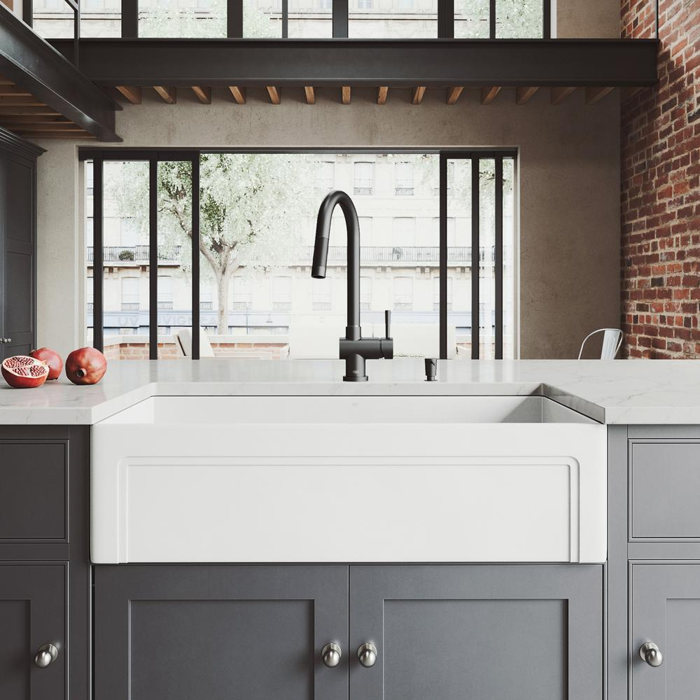 VIGO All-in-One Farmhouse Matte Stone 36 in. Single Bowl Kitchen Sink with  Gramercy Faucet in Matte Black