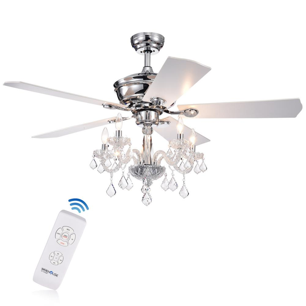 Warehouse Of Tiffany Havorand Iii 52 In Indoor Chrome Remote Ceiling Fan With Light Kit And Crystal Branched Chandelier