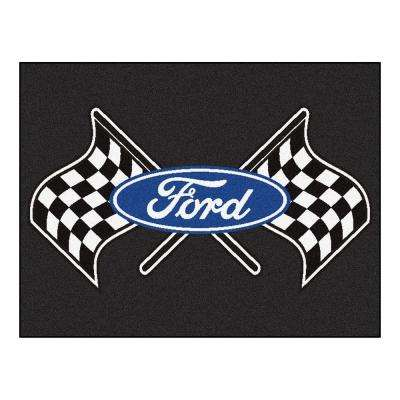 Ford - Flags Black 3 ft. x 4 ft. Indoor Rectangle Area Rug