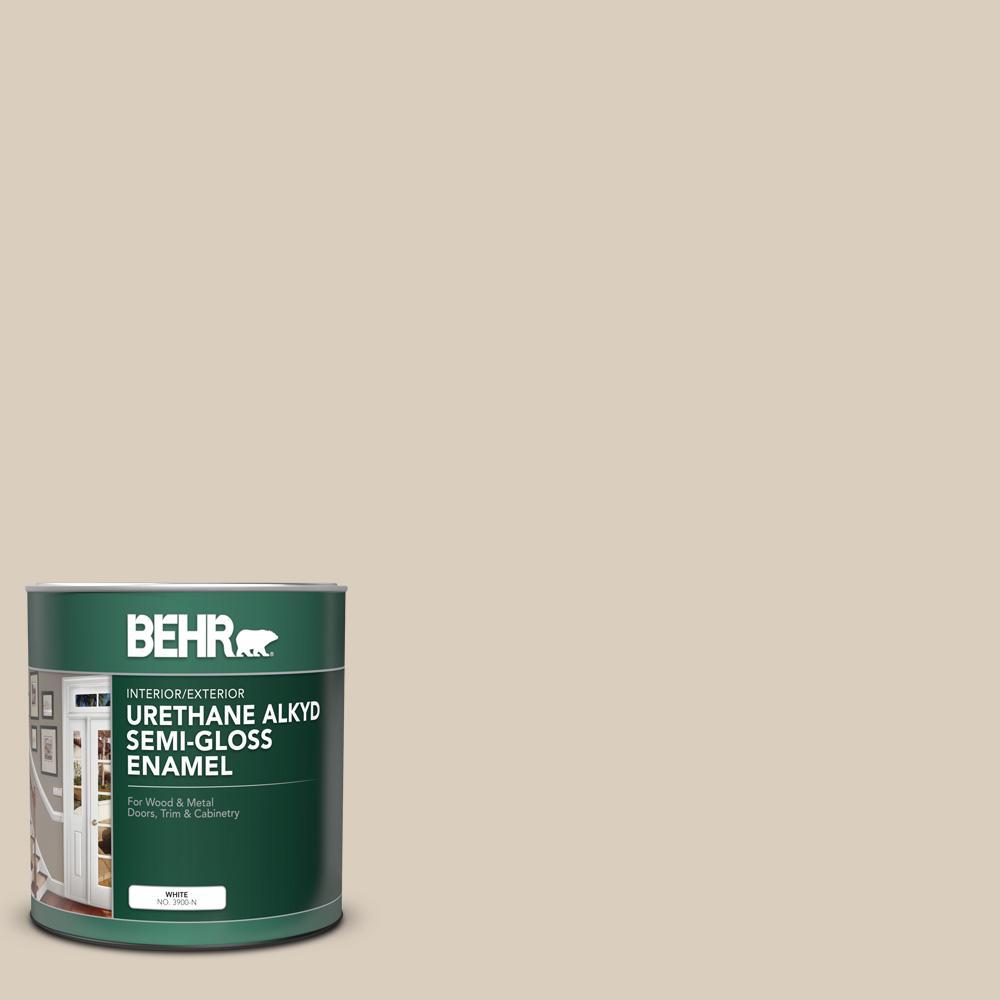 BEHR 1 qt  #BWC-25 Sandy Clay Semi-Gloss Enamel Urethane Alkyd  Interior/Exterior Paint