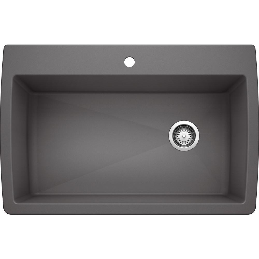 DIAMOND Silgranit Dual Mount Granite Composite 33.5 in. 1-Hole Single Bowl Kitchen Sink in Cinder