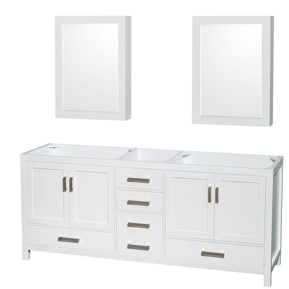 Gentil Wyndham Collection Sheffield 80 In. Double Vanity Cabinet With Medicine  Cabinets And Mirror In White