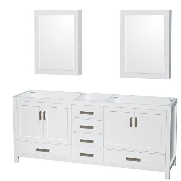 Sheffield 80 in. Double Vanity Cabinet with Medicine Cabinets and Mirror in White