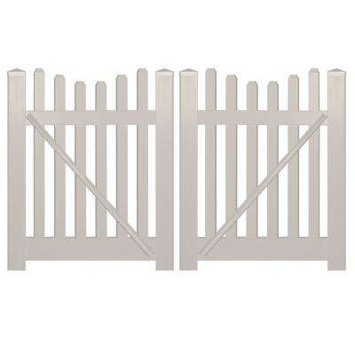 Hampshire 8 ft. W x 3 ft. H Tan Vinyl Picket Fence Double Gate Kit