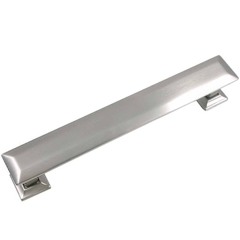 MNG Hardware 5 in. Center-to-Center Satin Nickel Poise Pull with Back Plate