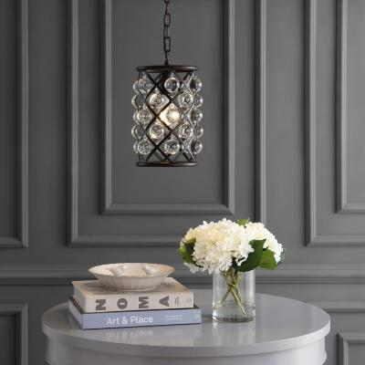 Gabrielle 8 in. 1-Light Oil Rubbed Bronze Metal/Crystal LED Pendant