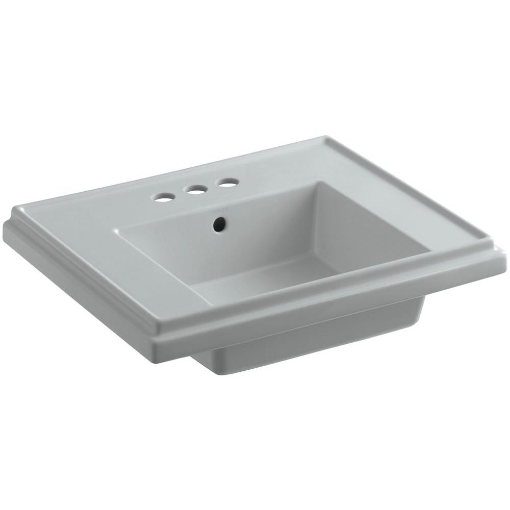 KOHLER Tresham 24 in. Fireclay Pedestal Sink Basin in Ice Grey with Overflow Drain