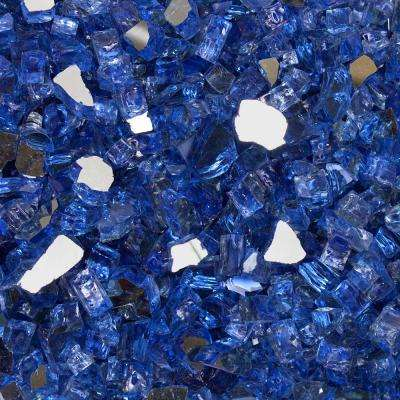 1/2 in. 10 lbs. Neptune Blue Reflective Tempered Fire Glass in Jar