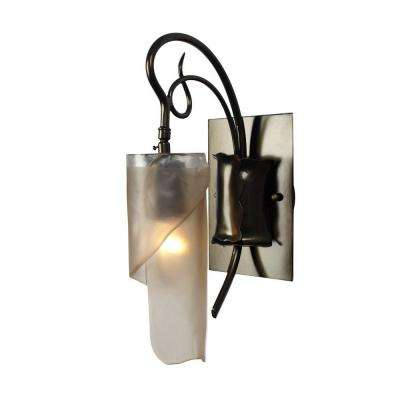 Soho 1-Light Statue Garden Bath Vanity Light with Brown Tint Ice Glass