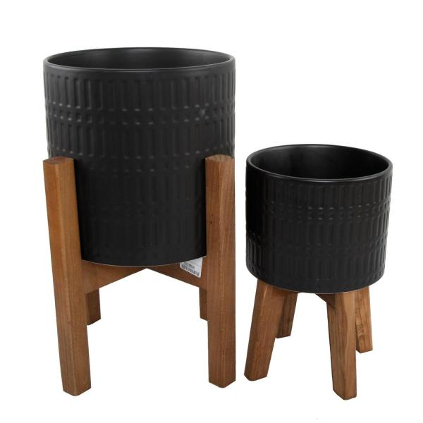 10 in. and 8 in. Matte Black Ceramic Roman Planter on Wood Stand Mid-Century Planter (Set of 2)