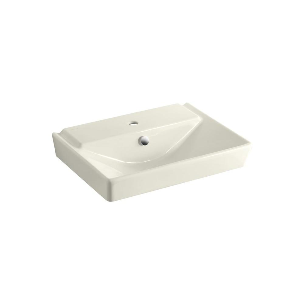 KOHLER Reve 3 in. Ceramic Pedestal Sink Basin in Biscuit with Overflow Drain