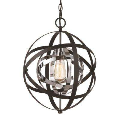 Monrovia 1-Light Polished Chrome and Black Pendant