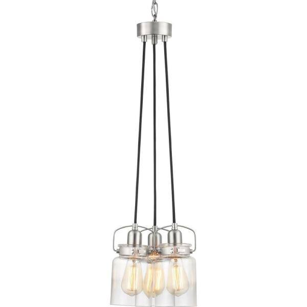 Calhoun Collection 3-Light Brushed Nickel Chandelier with Shade