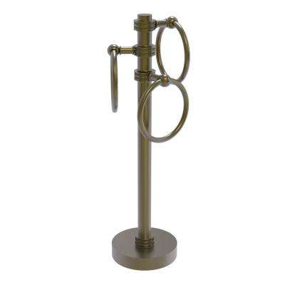 Vanity Top 3 Towel Ring Guest Towel Holder with Dotted Accents in Antique Brass