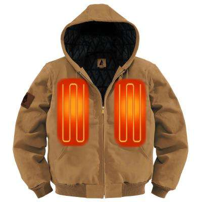 Men's Large Tan Cotton Long Sleeved 5-Volt Heated Rugged Work Jacket