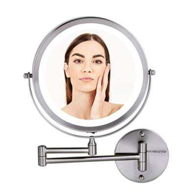 Nickel Brushed Battery Operated, 1x/10x Magnification Wall Mount LED Lighted Makeup Mirror