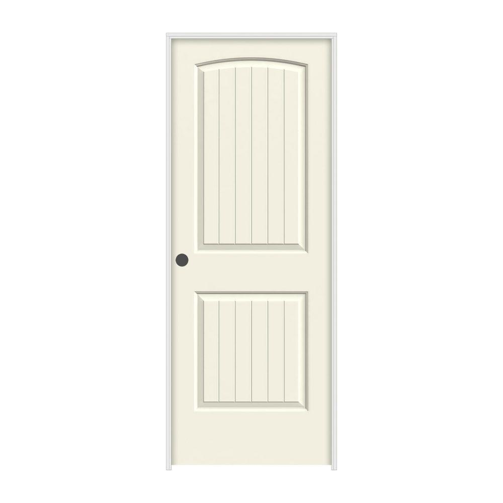JELD-WEN 30 in. x 80 in. Santa Fe Vanilla Painted Right-Hand Smooth Molded Composite MDF Single Prehung Interior Door