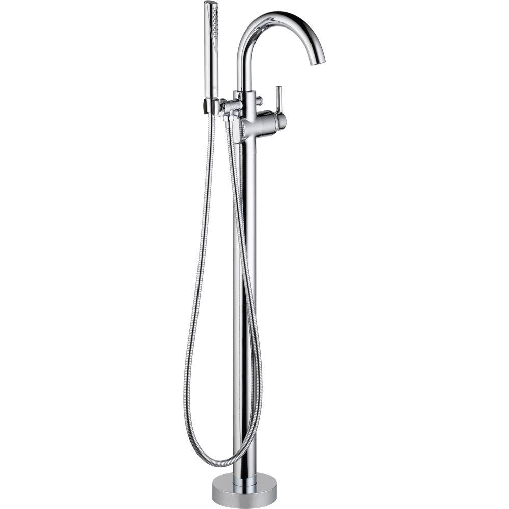 Delta Trinsic Single-Handle Floor-Mount Roman Tub Faucet with Hand Shower in Chrome (Valve Included)