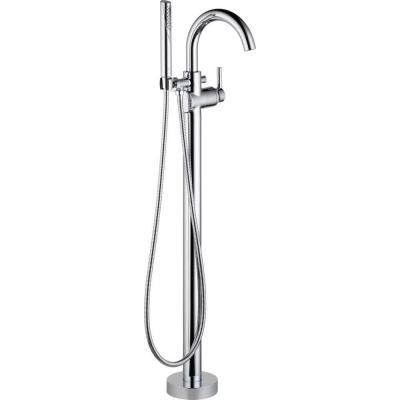 Trinsic Single-Handle Floor-Mount Roman Tub Faucet with Hand Shower in Chrome (Valve Included)