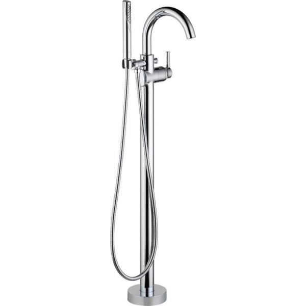 Delta Trinsic 1 Handle Floor Mount Roman Tub Faucet Trim Kit With Hand Shower In Chrome Valve Not Included T4759 Fl The Home Depot