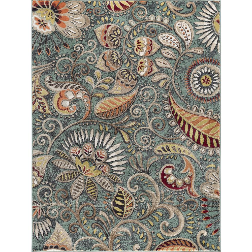 Tayse Rugs Capri Blue 7 ft. 10 in. x 10 ft. 3 in. Transitional Area Rug