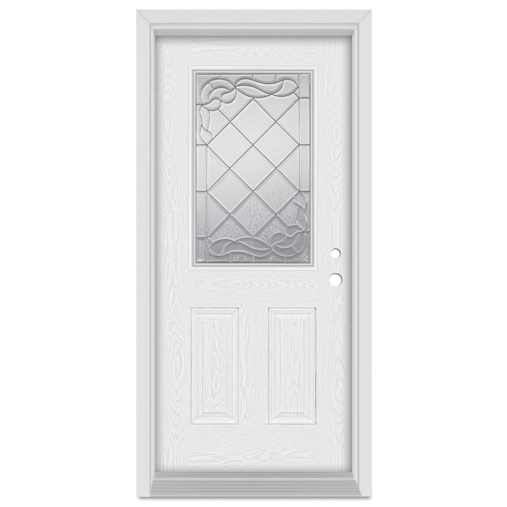 36 in. x 80 in. Art Deco Left-Hand Inswing 1/2 Lite Zinc Finished Fiberglass Oak Woodgrain Prehung Front Door