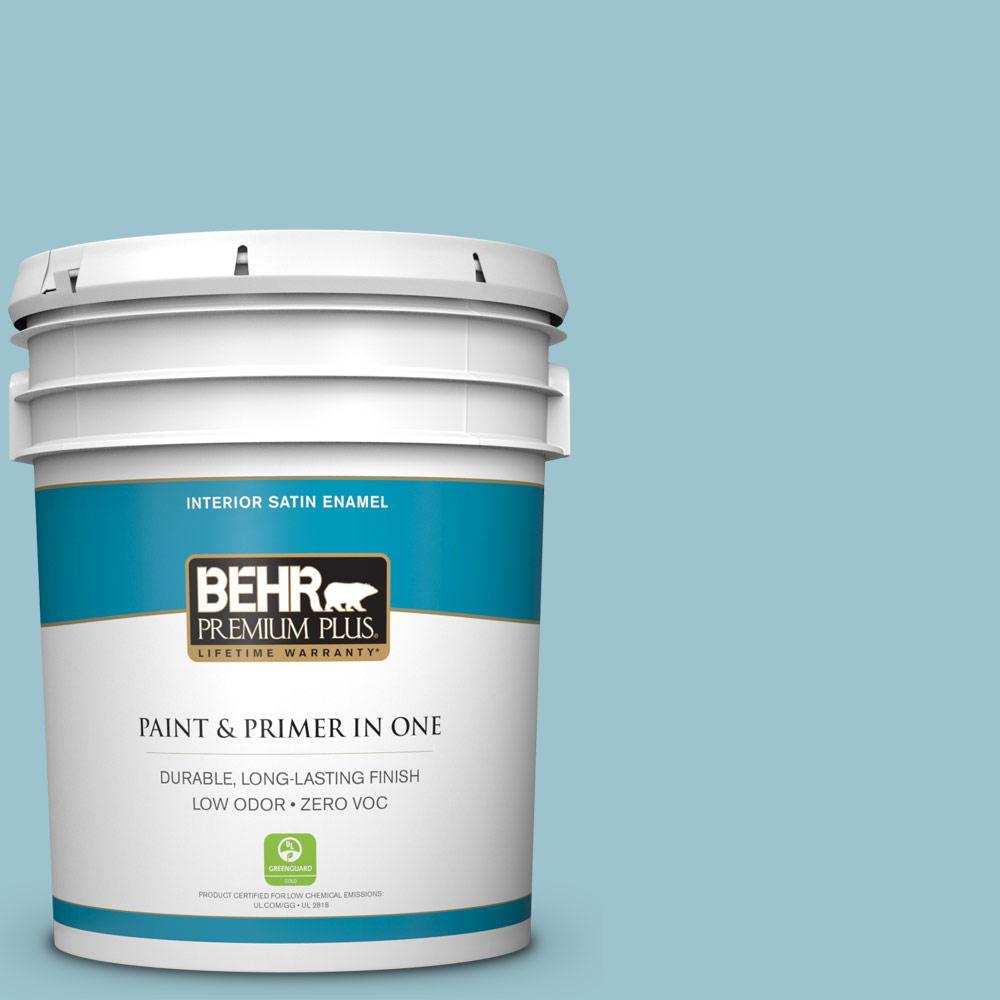 BEHR Premium Plus 5-gal. #ICC-99 Alluring Blue Zero VOC Satin Enamel Interior Paint