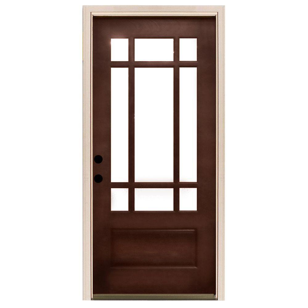 Steves sons 32 in x 80 in craftsman 9 lite stained for Home depot entrance doors