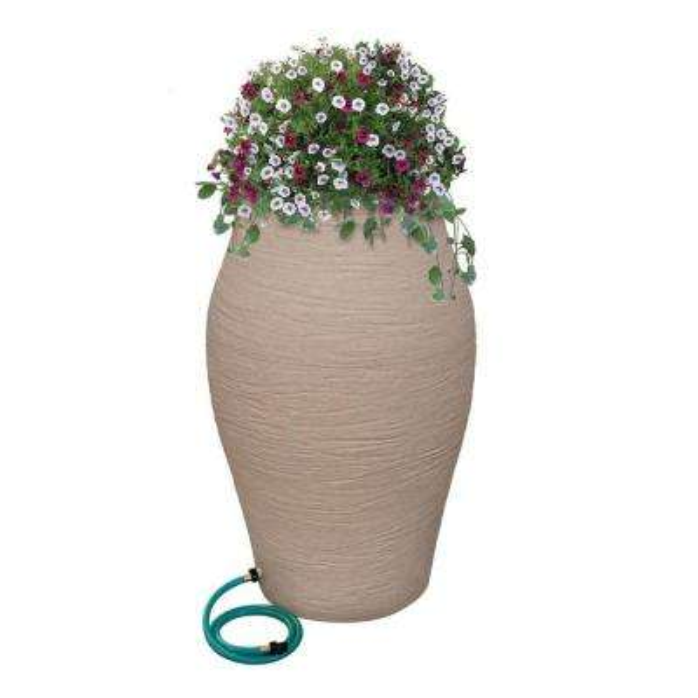 85 Gal. Sandstone Water Urn Decorative Urn Rain Barrel Kit with Integrated Planter