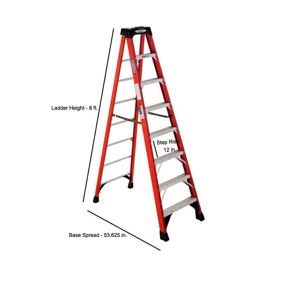 Astonishing Werner 8 Ft Fiberglass Step Ladder With 300 Lb Load Capacity Type Ia Duty Rating Uwap Interior Chair Design Uwaporg