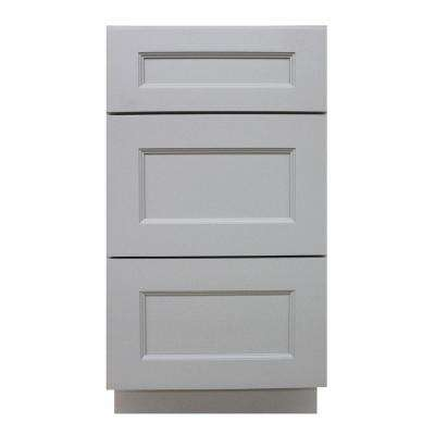Modern Craftsman Ready to Assemble 36x34.5x24 in. Base Cabinet with 3-Drawers in Gray
