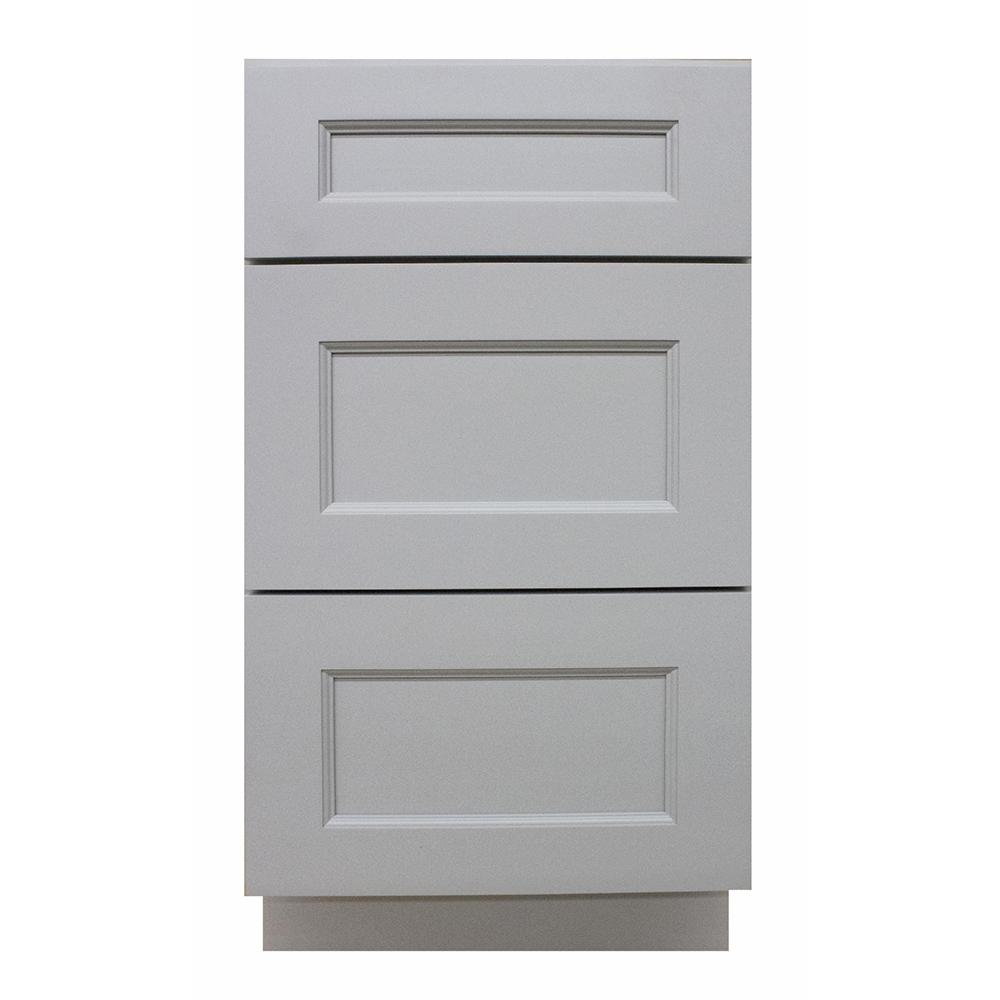 Krosswood Doors Modern Craftsman Ready To Assemble 15x33x21 In Vanity Base Cabinet With 3 Drawer In Gray