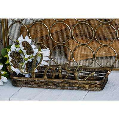 Tarnished Brass Decorative Trays with Handles (Set of 2)