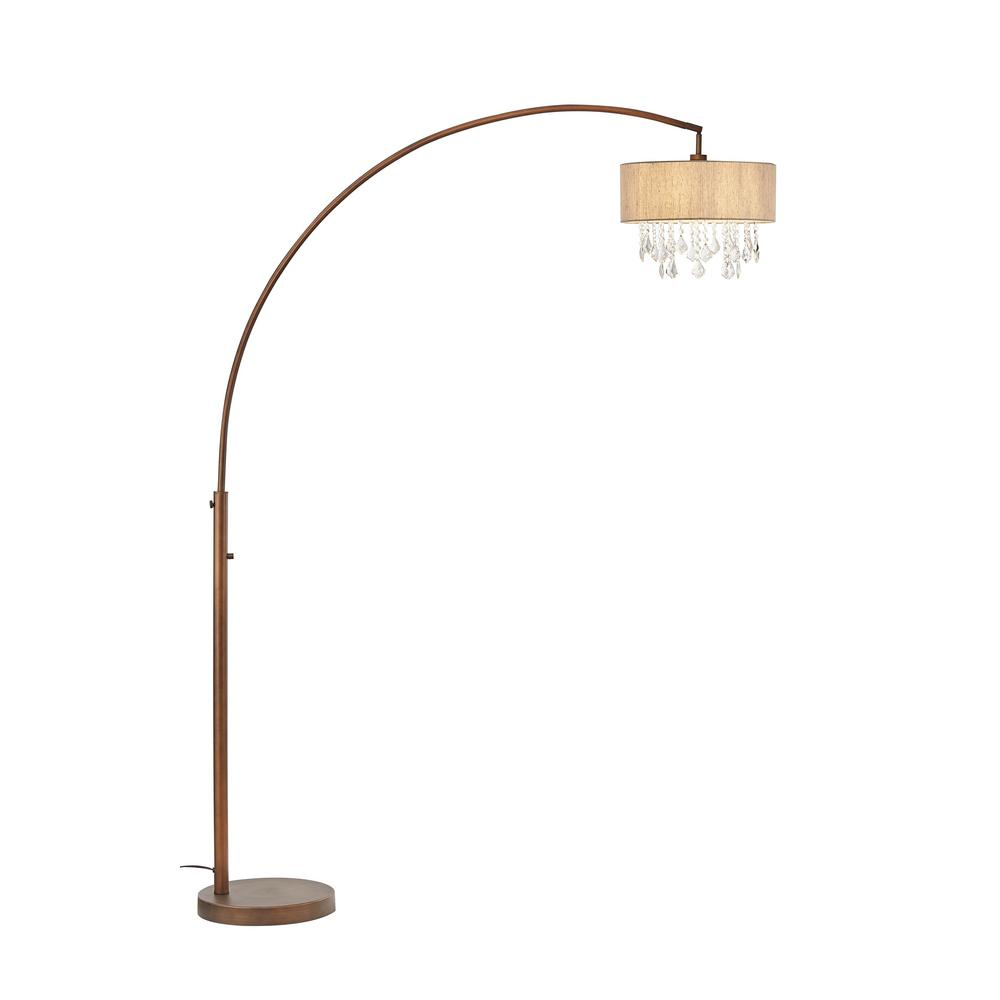 ARTIVA Elena III 81 in. LED Arched Antique Bronze Crystal Floor Lamp with Dimmer