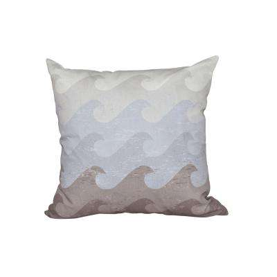 16 in. x 16 in. Gray and Taupe Deep Sea Geometric Print Pillow