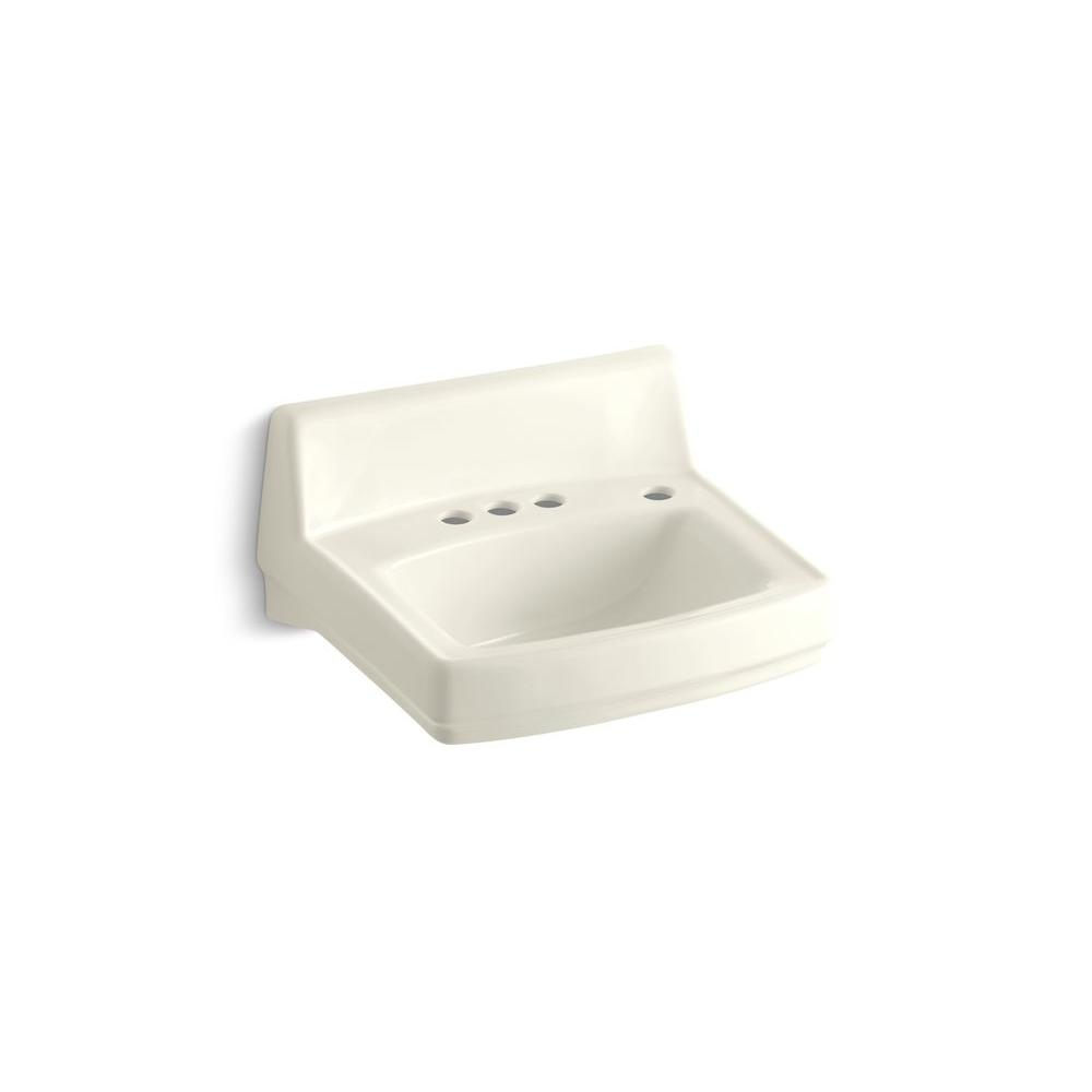 KOHLER Greenwich Wall-Mount Vitreous China Bathroom Sink in Biscuit with Overflow Drain