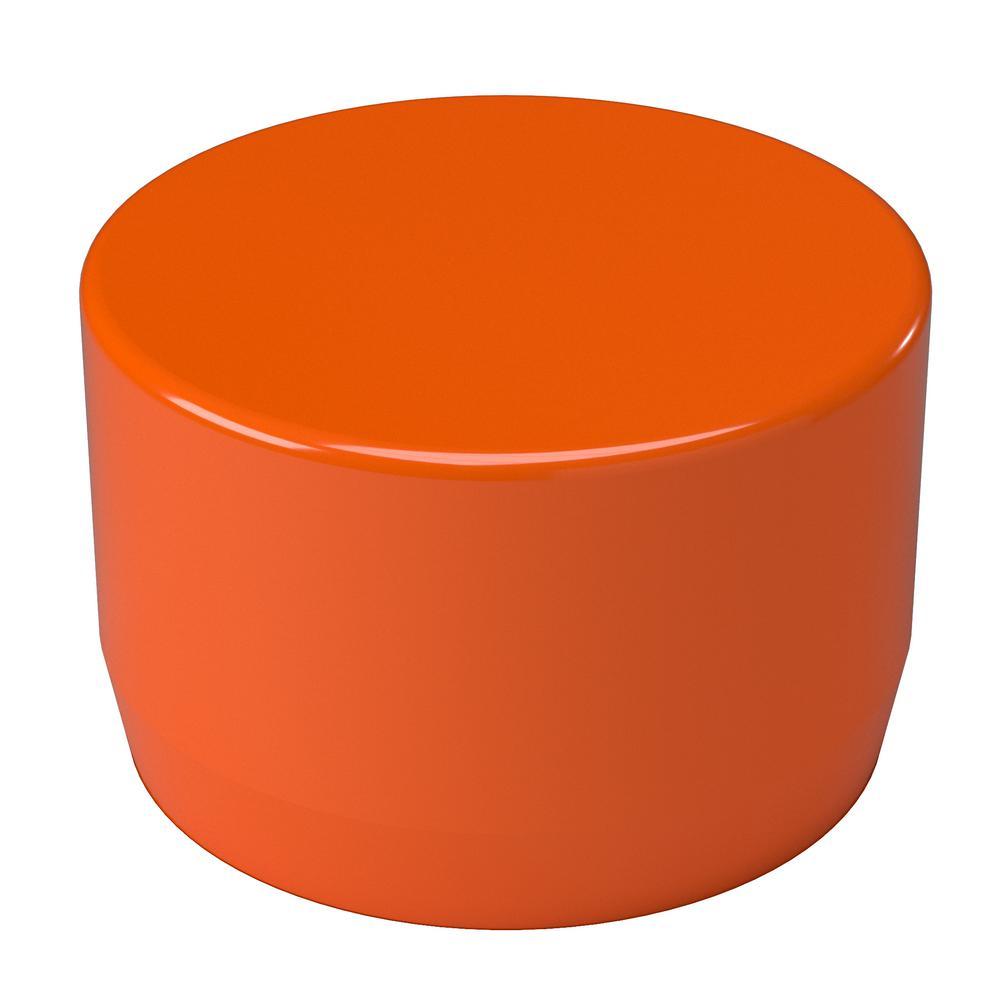 1-1/4 in. Furniture Grade PVC External Flat End Cap in Orange (10-Pack)