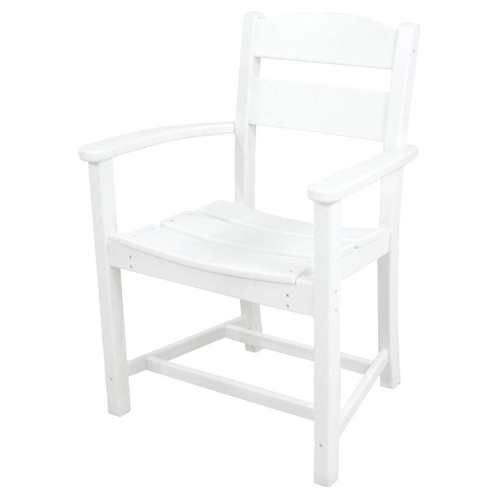 Classics White All-Weather Plastic Outdoor Dining Arm Chair