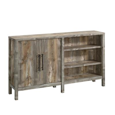 Granite Trace 58 in. Rustic Cedar Wood TV Stand Fits TVs Up to 43 in. with Storage Doors