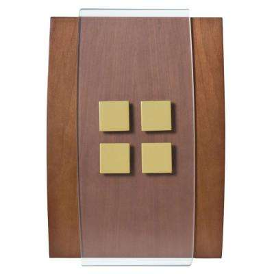 Decor Series Wireless Door Chime Wood with Antique Brass Accent Push Button Vertical or Horizontal Mnt