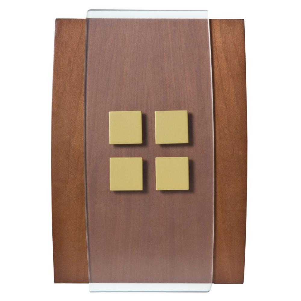 Decor Series Wireless Door Chime Wood with Antique Brass Accent Push