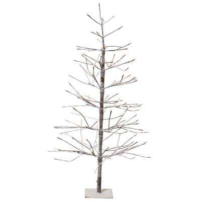 4 ft. Pre-Lit LED Snowy Brown Artificial Christmas Tree