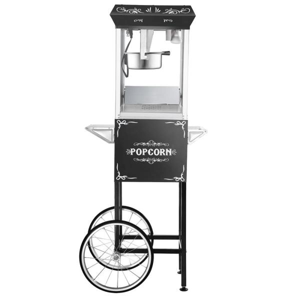 Great Northern All-Star 8 oz. Black Stainless Steel Popcorn Machine with