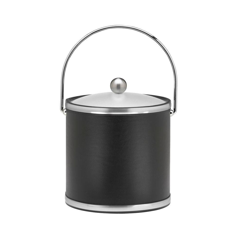 Sophisticates 3 Qt. Black w/Brushed Chrome Ice Bucket with Bale Handle,