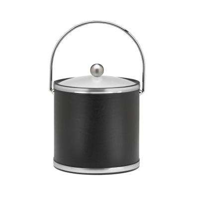 Sophisticates 3 Qt. Black w/Brushed Chrome Ice Bucket with Bale Handle, Acrylic Cover