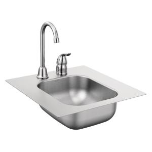Moen 2000 Series All-in-One Drop-in Stainless Steel 13 inch 2-Hole Single Bowl Bar Sink with Faucet by MOEN