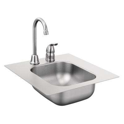 2000 Series All-in-One Drop-in Stainless Steel 13 in. 2-Hole Single Bowl Bar Sink with faucet