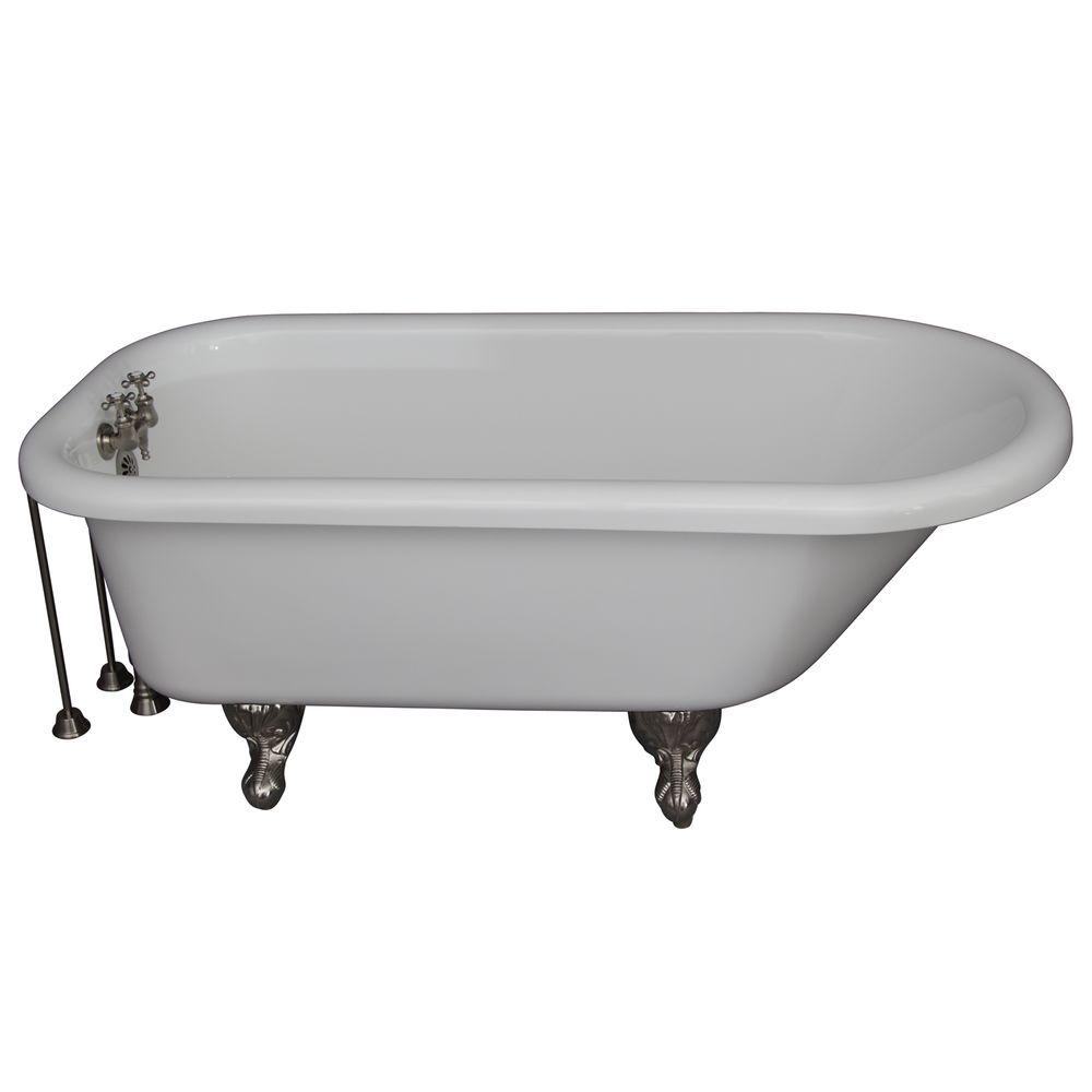 Barclay Products 5 ft. Acrylic Ball and Claw Feet Roll Top Tub in White with Brushed Nickel Accessories