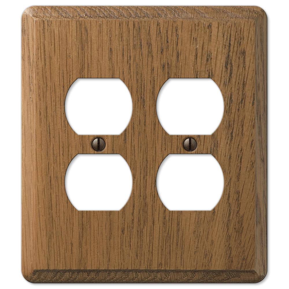 Contemporary 2 Gang Duplex Wood Wall Plate - Medium Oak