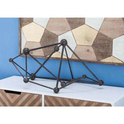 13 in. Modern Molecular Sculpture in Rusty Black
